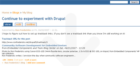 RonFredericks.net Drupal 5.1 with Trackback support and Spam filter added