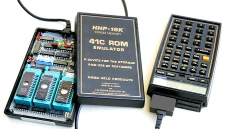 HPP-16K EPROM Emulator connected to HP-41 Calculator