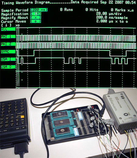 Timing Traces from HP 1631D Logic Analyzer (upper); along with test bench setup (lower)