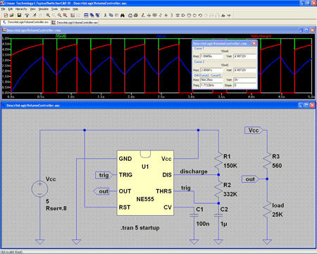 LTspice/SwitcherCAD III circuit diagram and waveforms