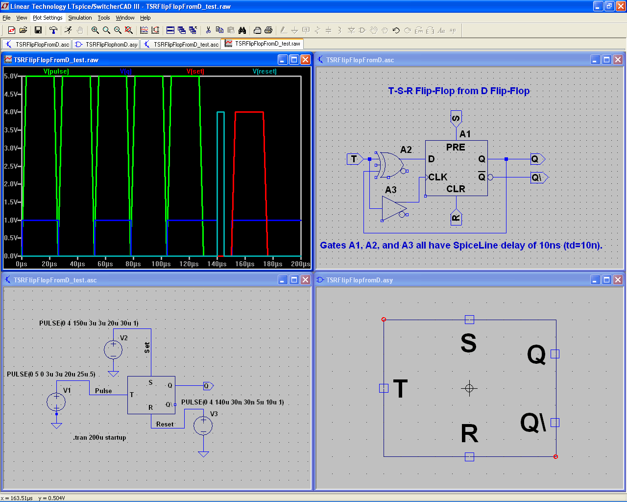LTspice/SwitcherCAD III circuit diagram, waveforms, and cursor measurements - Large